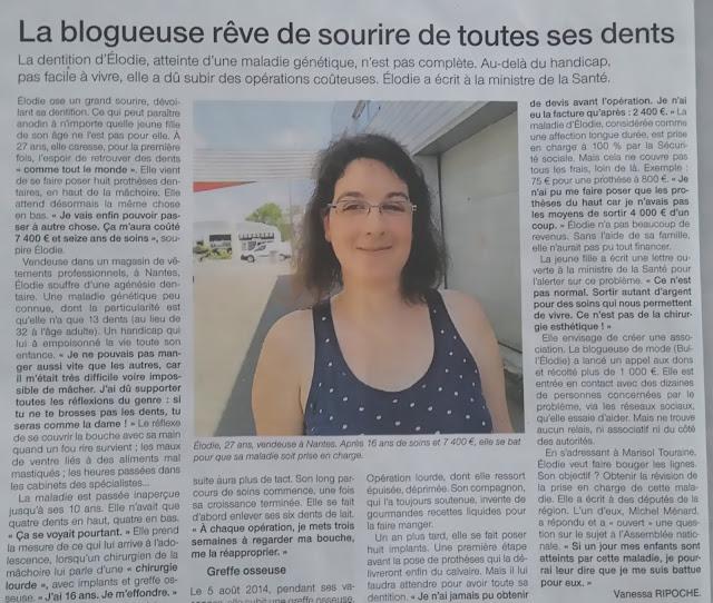 ouest france, article, presse, Nantes, agénésie dentaire, bullelodie