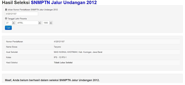 Hasil Snmptn Ugm Tulis 2012