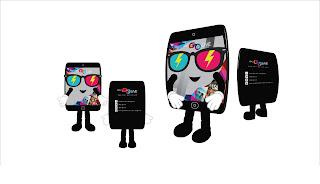 Contoh design kostum badut maskot karakter Handphone (HP) yang dipakai orang