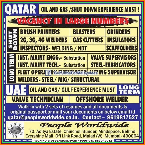 Oil Gas Shutdown Jobs For Qatar Gulf Jobs For Malayalees