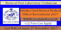Government of Odisha Chief District Medical Officer Recruitment 2017– Laboratory Technician