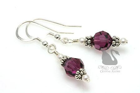 Pearl Purple Cystic Fibrosis Awareness Earrings (E245)