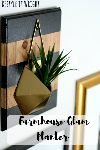 DIY farmhouse glam wall plant hanger with stain and bold black painted stripes