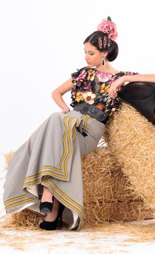 traje de flamenca campero, falda y camisa Margarita Freire 2016