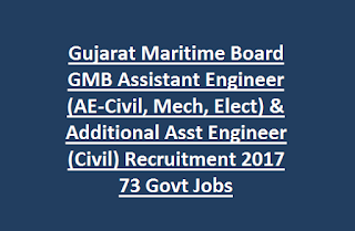 Gujarat Maritime Board GMB Assistant Engineer (AE-Civil, Mechanical, Electrical) & Additional Asst Engineer (Civil) Recruitment 2017 73 Govt Jobs Last Date 09-03-2017