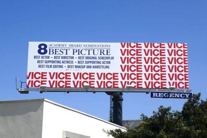 Vice Oscar nominee US Flag billboard