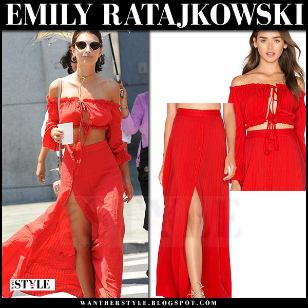 Emily Ratajkowski in red crop top and red maxi skirt majorelle what she wore streetstyle