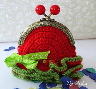 monedero crochet con boquilla hecho a mano
