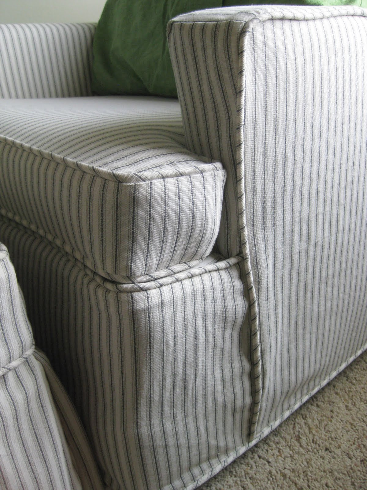 navy blue striped sofa old world table slipcovers for sofas