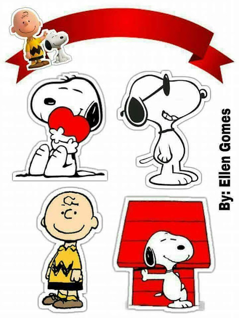 Peanuts, Charly Brown and Snoopy: Free Printable Cake Toppers.