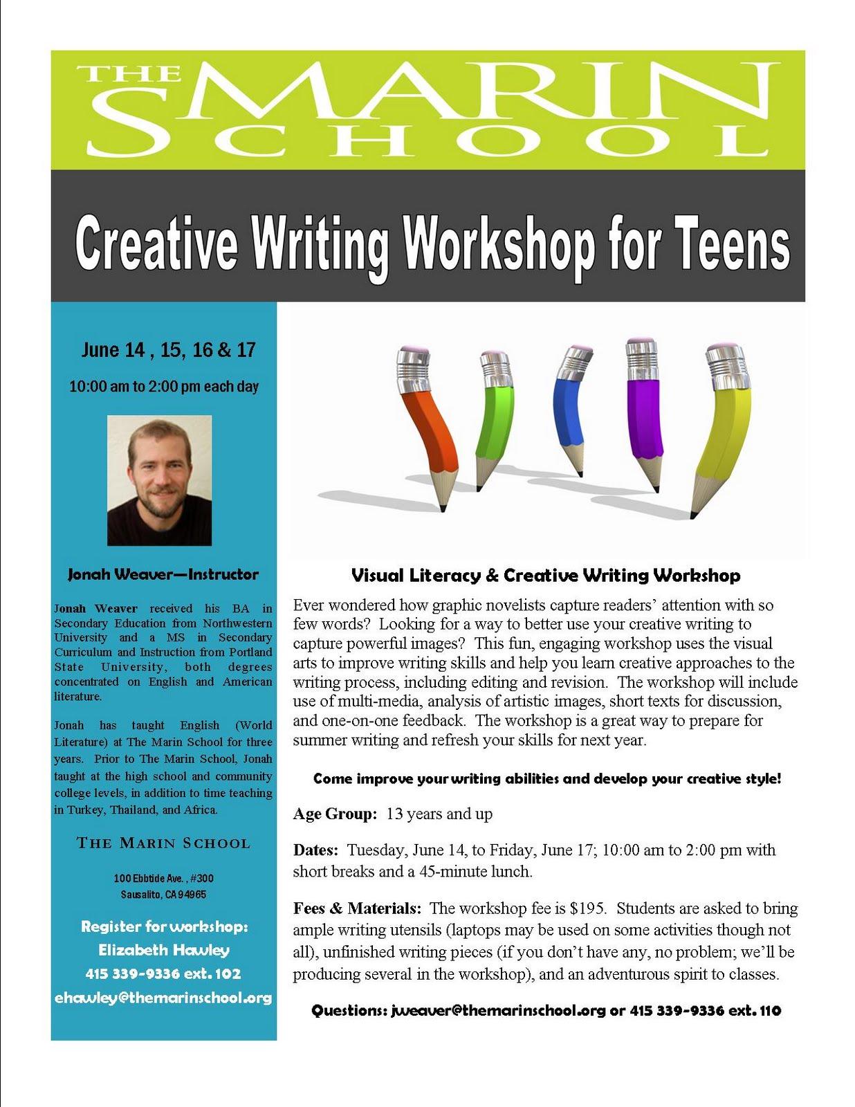 The Marin School Update Creative Writing Workshop For Teens