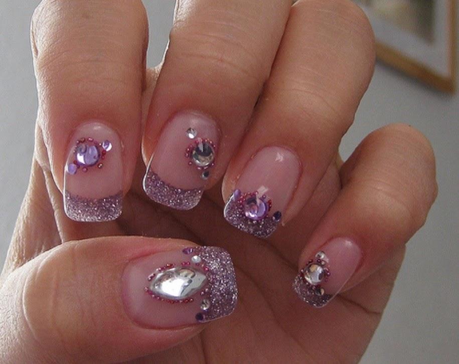 Simple acrylic nail designs with rhinestones | Nail Art ...