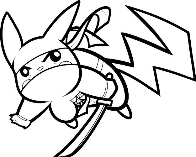 Ninja Pikachu Coloring Page