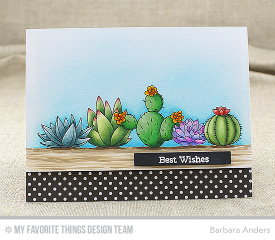 Best Wishes Card by Barbara Anders featuring Laina Lamb Design Sweet Succulents stamp set #mftstamps