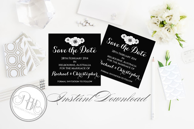 black and white anemone save the date by rbh designer concepts