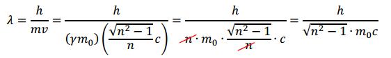Rumus panjang gelombang De Broglie