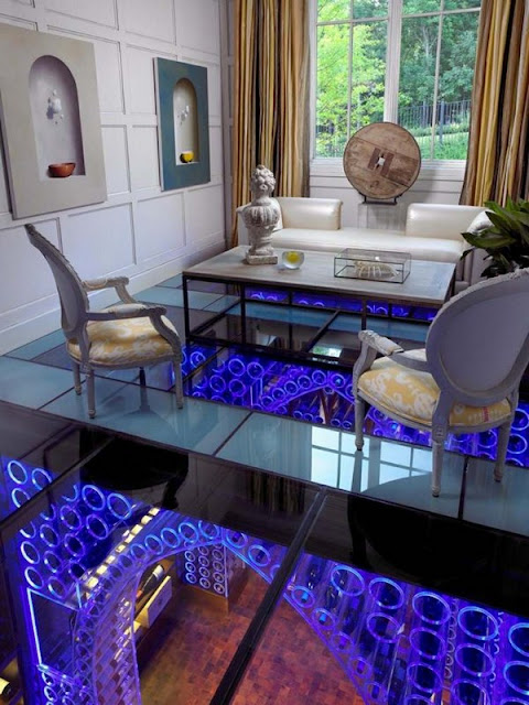 Wine Storage Cellar Lounge Lighting Blue Flooring Transparent Ceiling