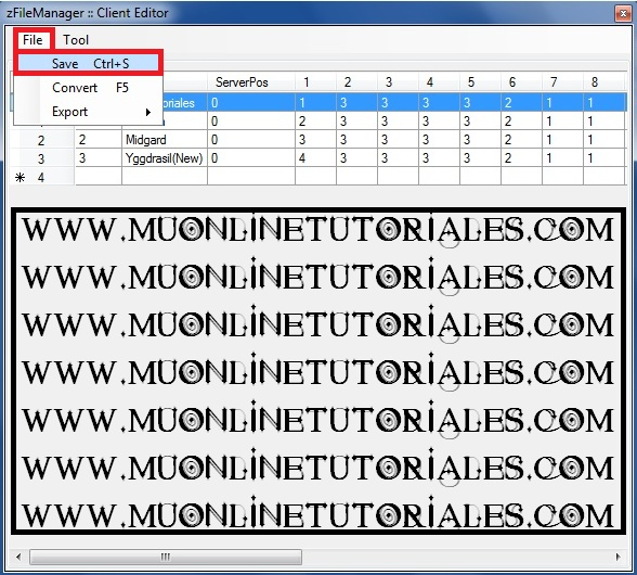 Salvando los cambios del archivo serverlist