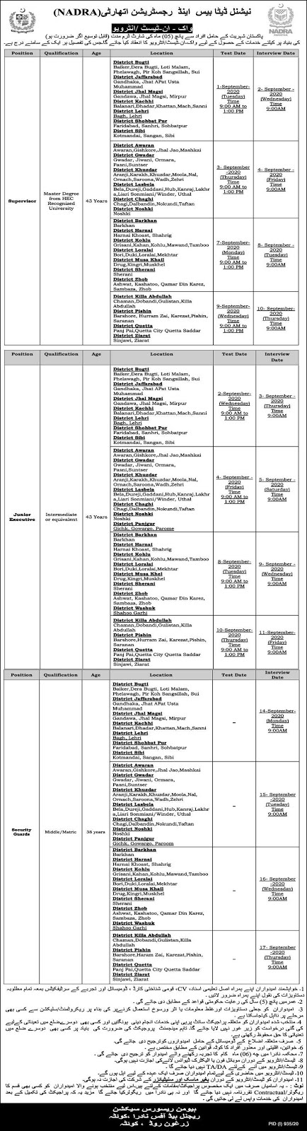 National Database & Registration Authority NADRA Jobs August 2020 (120 Posts)