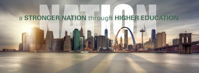 snapshot of Lumina Foundation StrongerNation Facebook page, image of monuments from across the nation.  Text: A stonger nation through higher education.