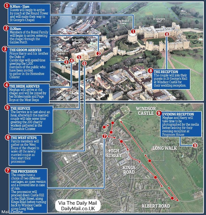 Royal Wedding Procession Map