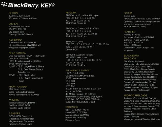spesifikasi BlackBerry Key2