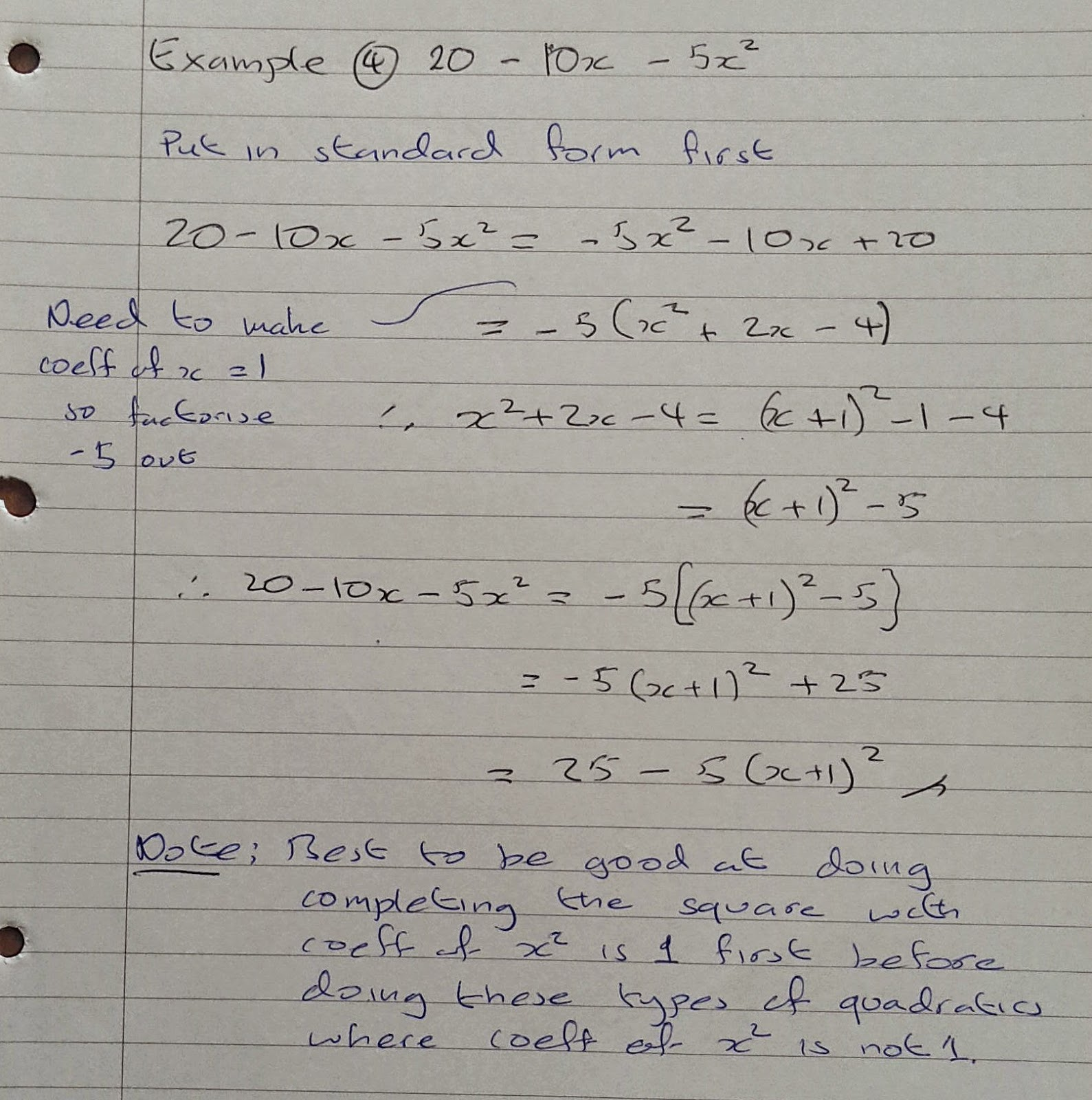 A Level Maths Notes As Quadratics Completing The Square