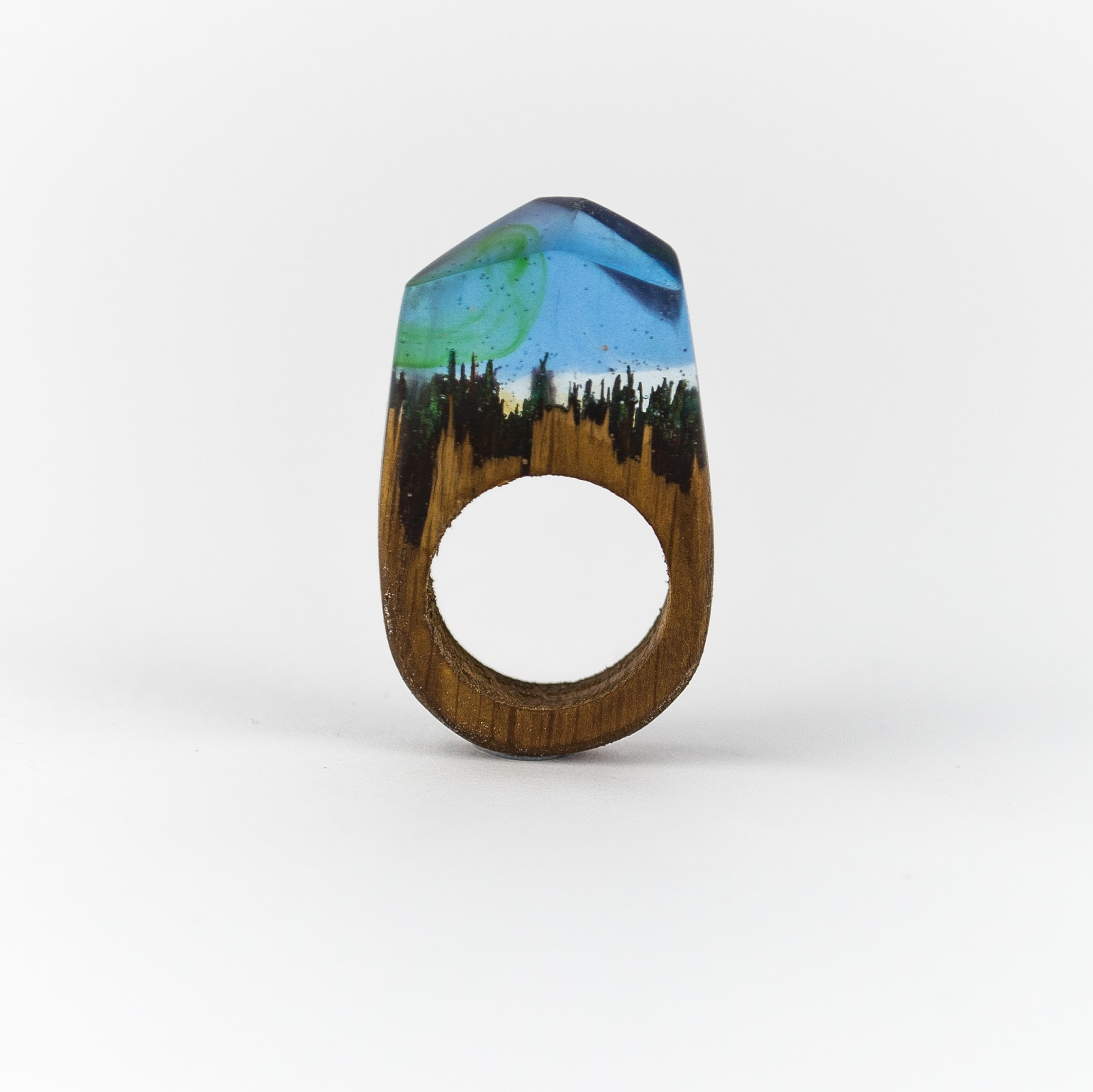 OKTIE Northen Lights Wood Resin Ring HandMade Wooden Gift For Her Box Free Engraving