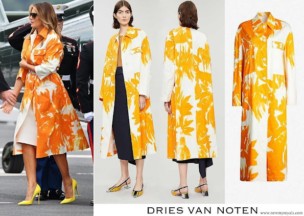 Melania Trump wore DRIES VAN NOTEN Floral print cotton coat