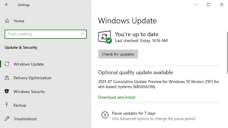 Windows 10 update KB5004296 adds new improvements for versions 21H1, 20H2 and 2004