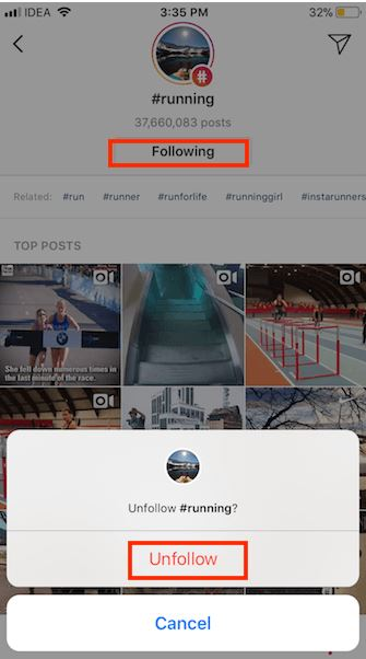 Cara unfollow hashtag di instagram iOS
