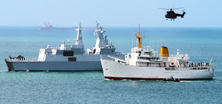 south African navy Fleet Replenishing Ship (AOR) SAS Drakensberg and a valour class frigate