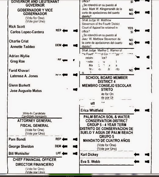 Lynn's little bit of trivia : Sample Ballot Palm Beach County