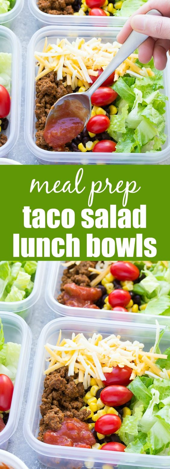 Meal Prep Taco Salad Lunch Bowls #meal #prep #taco #salad #saladrecipes #lunch #lunchrecipes #easylunchrecipes