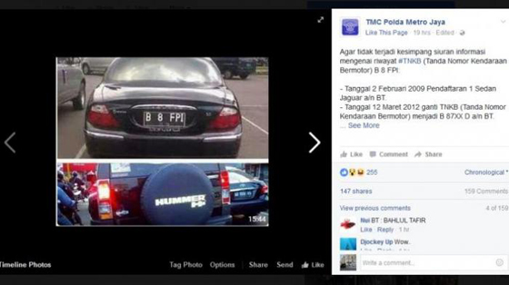 """Foto Dua Mobil Berbeda Dengan Plat Sama """"B 8 FPI"""" Jadi Viral"""