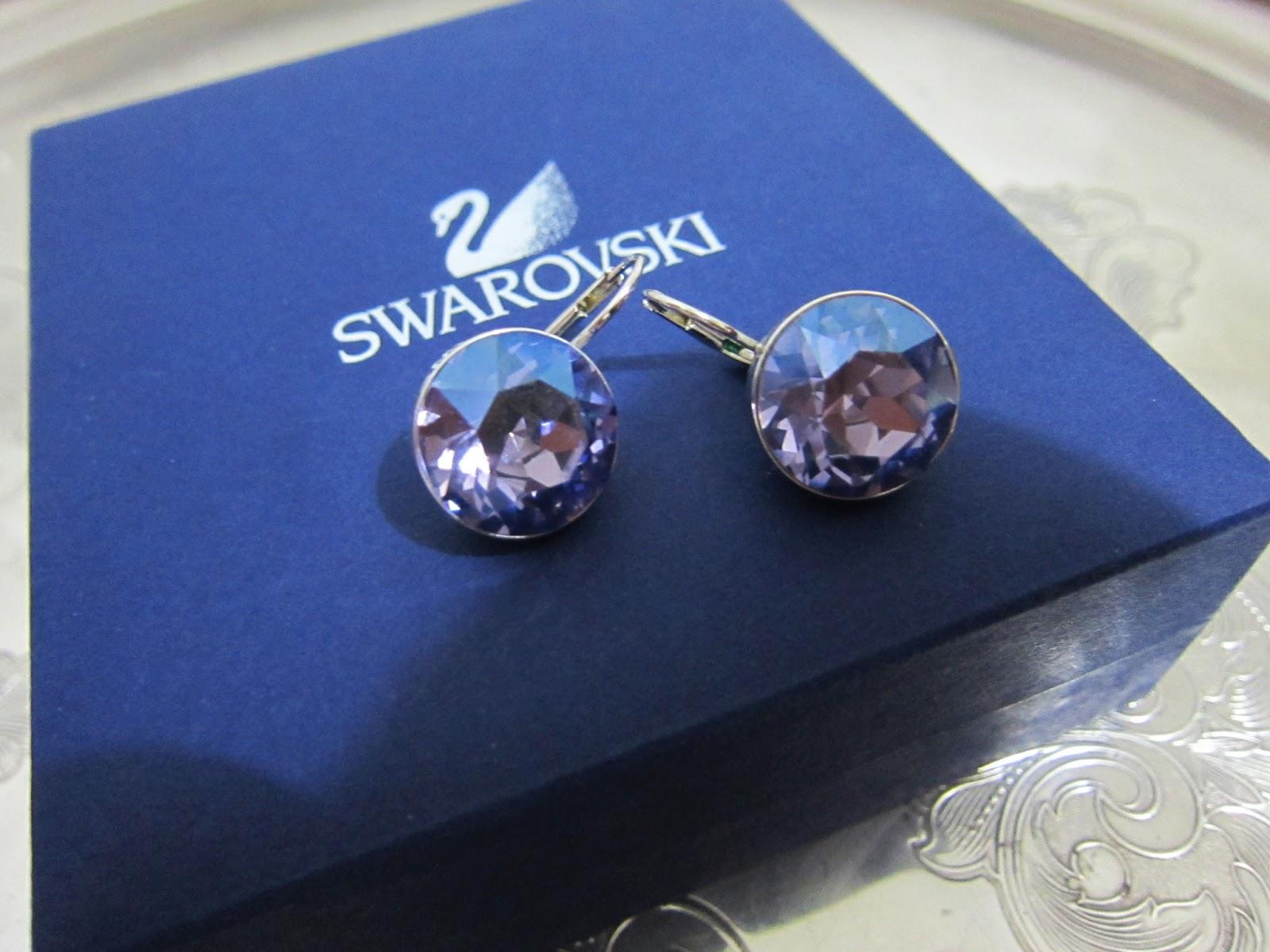 Retired Swarovski Bella Tanzanite Moonlight Earrings