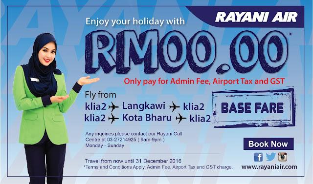 Rayani Air Free Seats KL - Langkawi / Kota Baru Return Flights