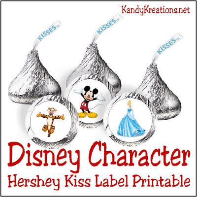 Party with your favorite Disney characters with this printable Hershey Kiss label.  With 40 different characters, you'll be able to sweeten a Disney party or tell your kids about their upcoming Disney trip in a fun way.  Printable only available in April to newsletter subscribers.