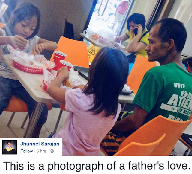 Father Treats Daughters In A Fast Food Chain Without Ordering His Own Food. Read The Touching Story Here.