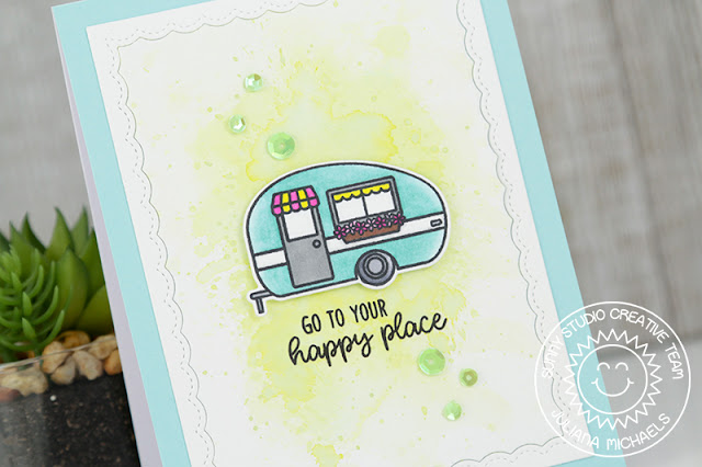 Sunny Studio Stamps: Happy Camper Ink Smooshed Background Happy Place Card by Juliana Michaels
