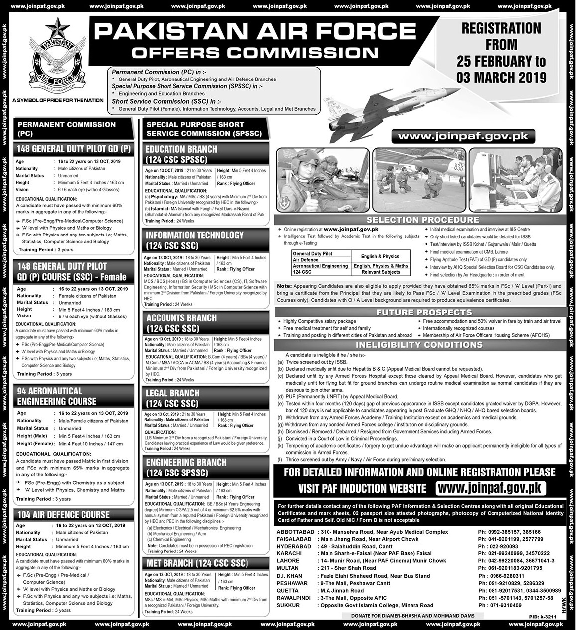 Join Pakistan Air Force as Commission Officer, PAF Jobs 2019 - joinpaf.gov.pk
