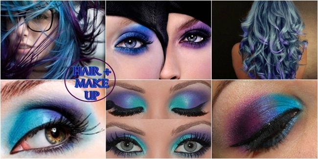 Purple and turquoise makeup and hair color ideas