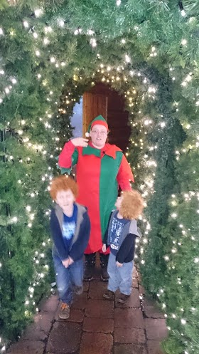 Christmas archway with giant elf