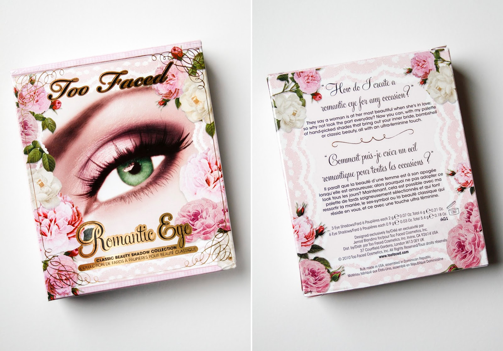 front and back photos of romantic eye palette box