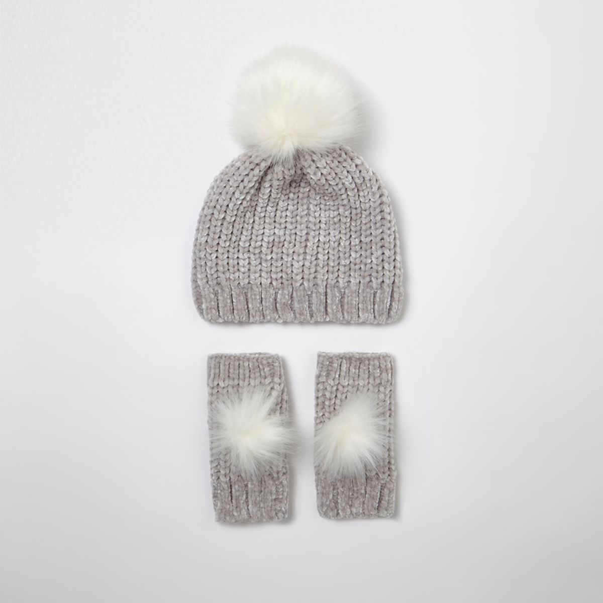 River Island Kids Girls Grey Chenille Knit Hat and Mittens Set