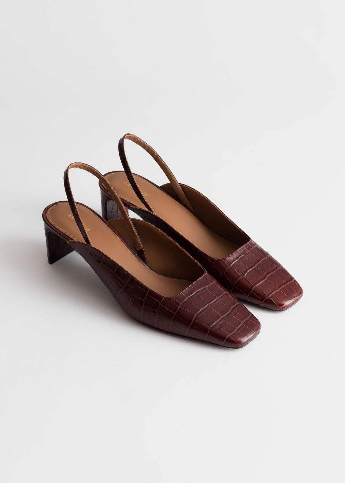 Brown Cool Square-Toe Croc-Embossed Mule Heels