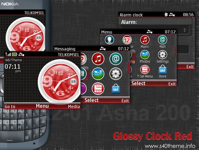 Glossy clock series theme Asha 200 Asha 201 Asha 302 C3-00 X2-01
