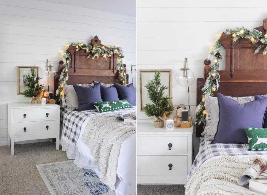 wystrój wnętrz, wnętrza, urządzanie mieszkania, dom, home decor, dekoracje, aranżacje, Święta, Boże Narodzenie, Christmas, świąteczne dekoracje, decorations, sypialnia, bedroom, łóżko, bed