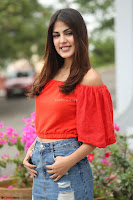 Rhea Chakraborty in Red Crop Top and Denim Shorts Spicy Pics ~  Exclusive 239.JPG