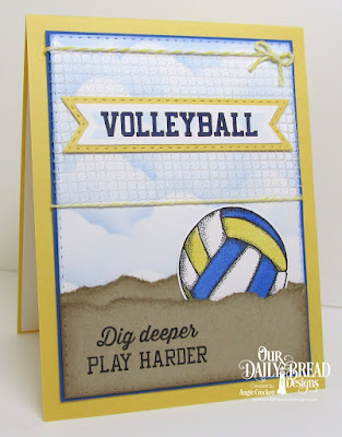 ODBD Volleyball Stamp/Die Duos, ODBD Custom Pennant Flags Dies, ODBD Custom Double Stitched Pennant Flags Dies, ODBD Custom Double Stitched Rectangles Dies, ODBD Custom Clouds and Raindrops Dies, Card Designer Angie Crockett
